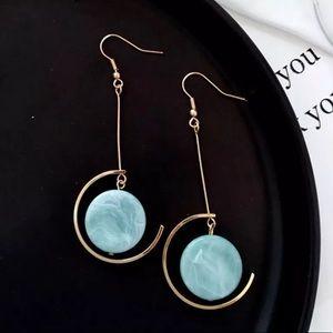 Minimalist Moon Blue Earrings